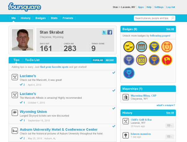 Skrabut's Foursquare account