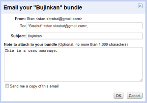 Email Bundle dialog box