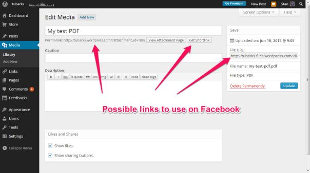 Links for file in WordPress