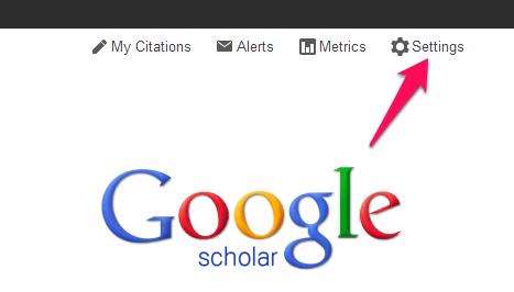 Google Scholar Settings link