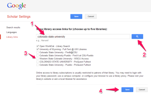 Adding library to Google Scholar