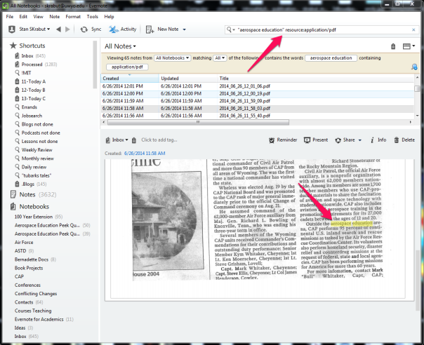 Searching a PDF in Evernote