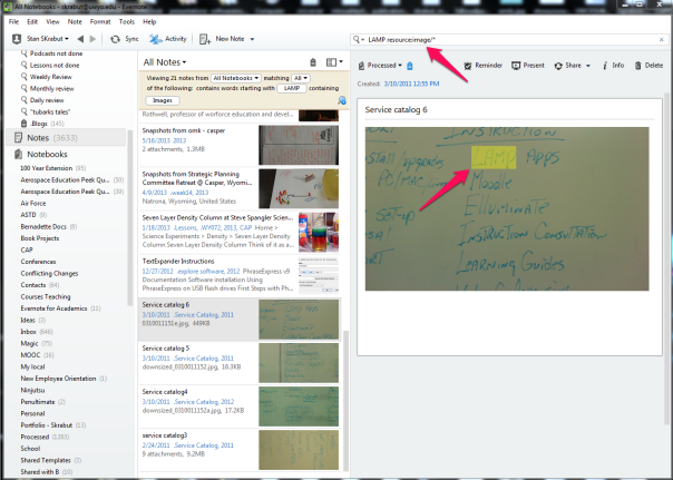 Searching a whiteboard with Evernote