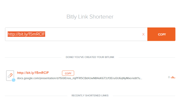 Copy URL from bitly