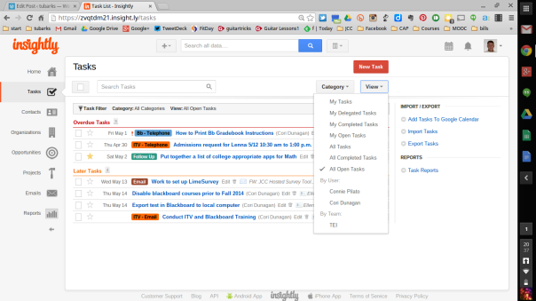 Example of Insight.ly Tasks screen