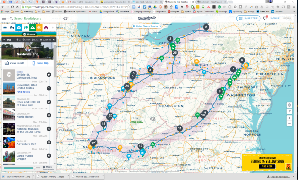 Our path on Roadtrippers